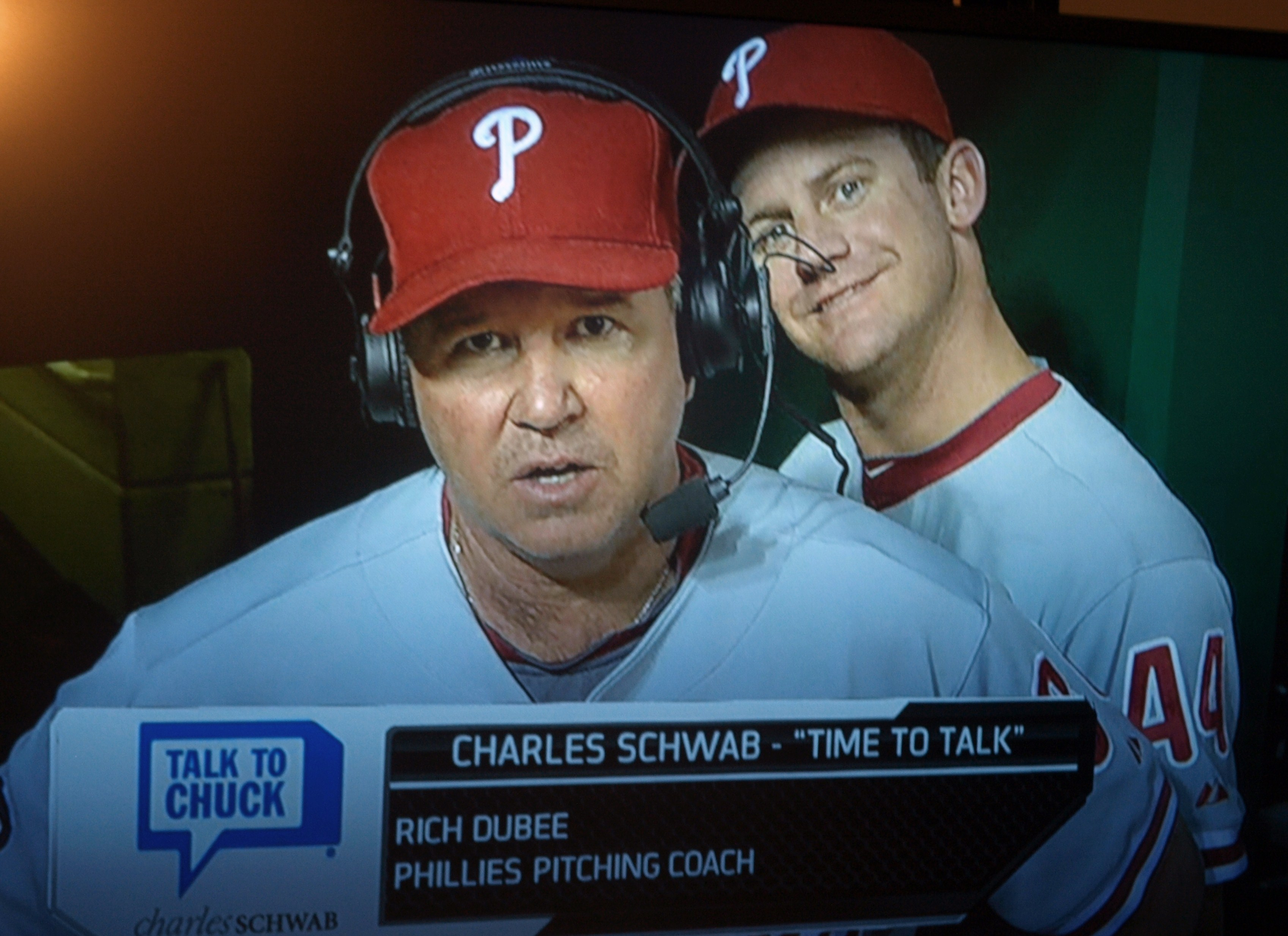 ... the camera's during an in-game interview with pitching coach Rich Dubee: